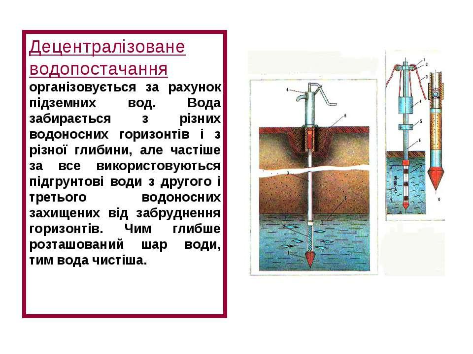 Децентралізоване водопостачання організовується за рахунок підземних вод. Вод...
