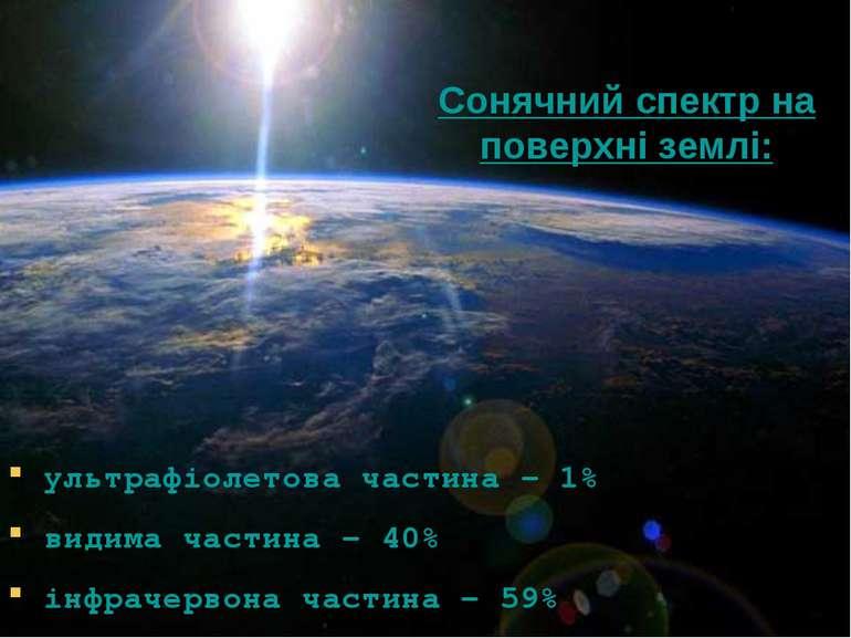 Сонячний спектр на поверхні землі: ультрафіолетова частина – 1% видима частин...