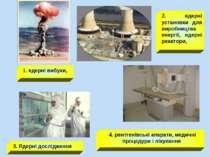 1. ядерні вибухи, 2. ядерні установки для виробництва енергії, ядерні реактор...