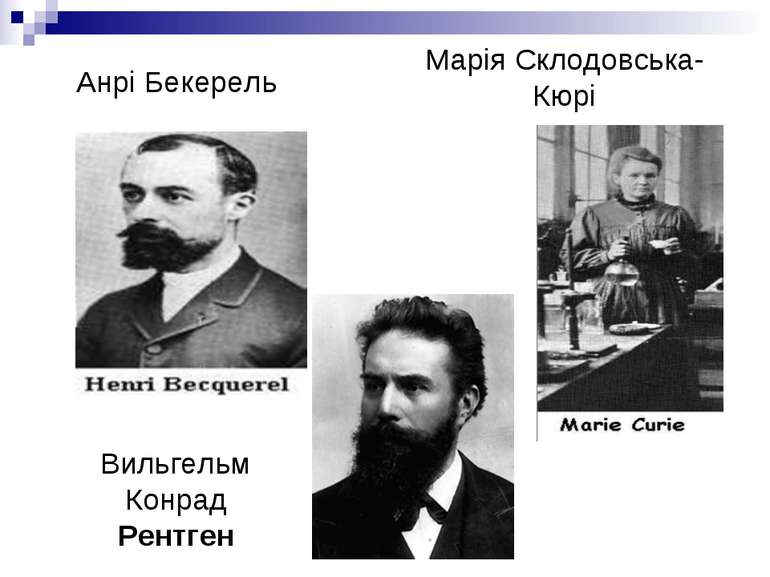 Анрі Бекерель Марія Склодовська-Кюрі Вильгельм Конрад Рентген