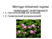 Методи гігієнічної оцінки природної освітленості 1. Світлотехнічний (об`єктив...