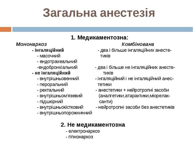 Загальна анестезія 1. Медикаментозна: Мононаркоз Комбінована - інгаляційний -...