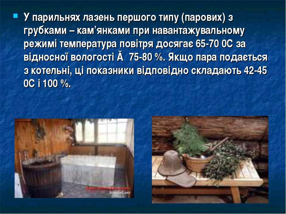 У парильнях лазень першого типу (парових) з грубками – кам'янками при наванта...