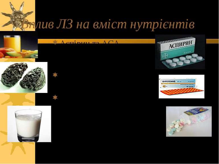Вплив ЛЗ на вміст нутрієнтів Аспірин та АСА-вмістні препарати сприяють втраті...