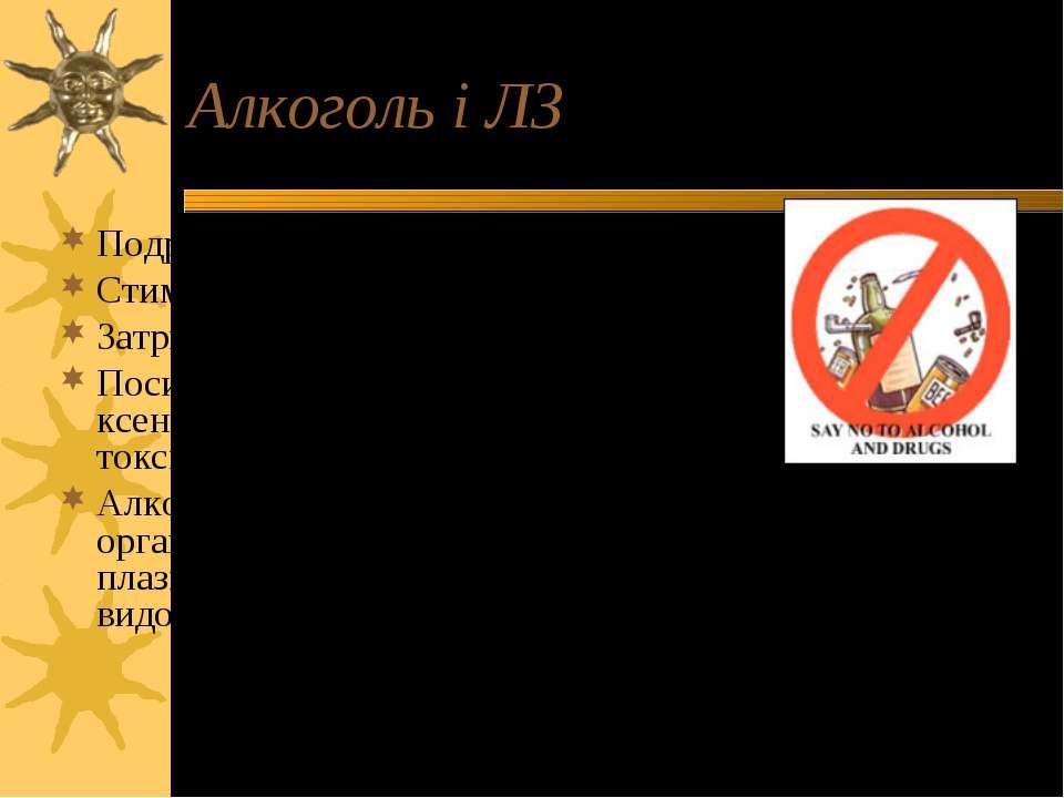 Алкоголь і ЛЗ Подразнення слизової оболонку шлунка Стимуляція секреції соляно...