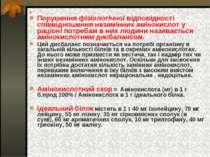 Порушення фізіологічної відповідності співвідношення незамінних амінокислот у...