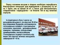 Перед головним входом в лікарню необхідно передбачити благоустроєні площадки ...