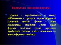 Ендемічне значення грунту Ґрунт є середовищем, в якому відбуваються процеси т...