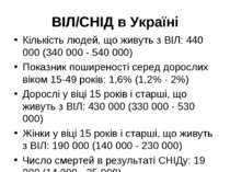 ВІЛ/СНІД в Україні Кількість людей, що живуть з ВІЛ: 440 000 (340 000 - 540 0...