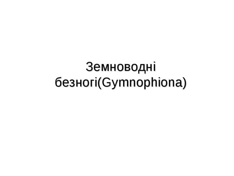 Земноводні безногі(Gymnophiona)