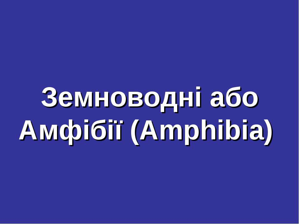 Земноводні або Амфібії (Amphibia)