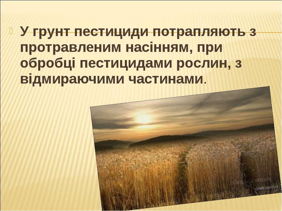 У грунт пестициди потрапляють з протравленим насінням, при обробці пестицидам...