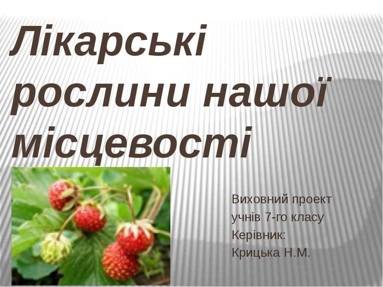 Лікарські рослини нашої місцевості Виховний проект учнів 7-го класу Керівник:...