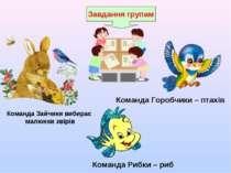Завдання групам Команда Зайчики вибирає малюнки звірів Команда Горобчики – пт...