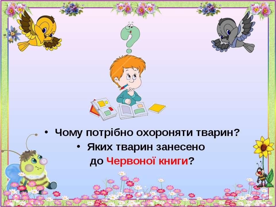Чому потрібно охороняти тварин? Яких тварин занесено до Червоної книги?