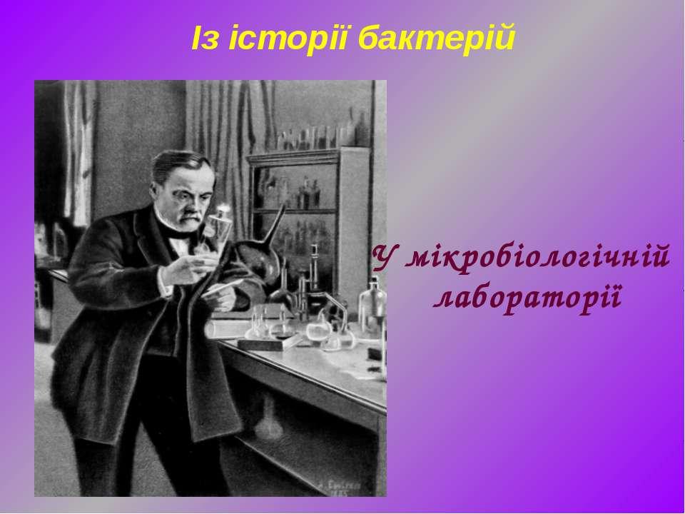 Із історії бактерій У мікробіологічній лабораторії