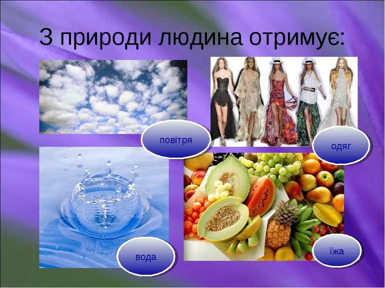 З природи людина отримує: повітря вода їжа одяг