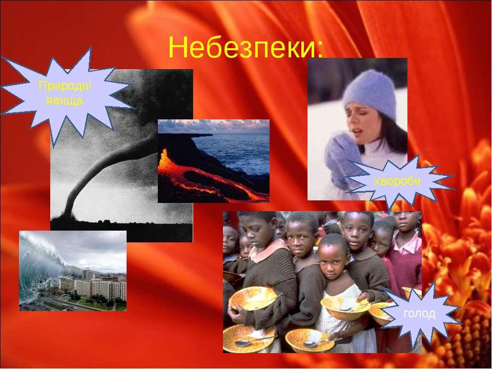 Небезпеки: Природні явища голод хвороби