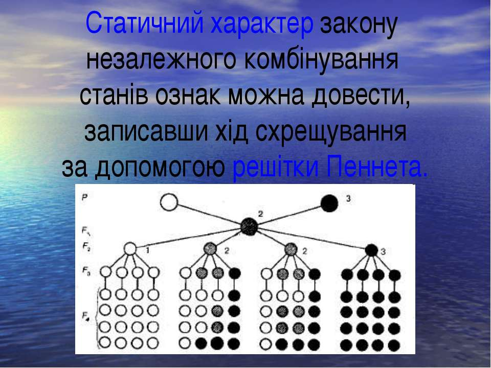 Статичний характер закону незалежного комбінування станів ознак можна довести...