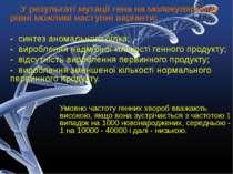 У результаті мутації гена на молекулярному рівні можливі наступні варіанти: -...