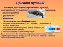 Причини мутацій Фактори, що здатні спричиняти мутації, називаються мутагенним...