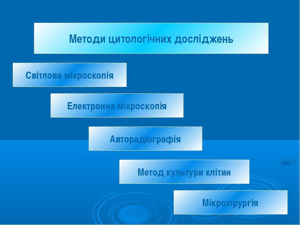 Методи цитологічних досліджень Світлова мікроскопія Електронна мікроскопія Ав...