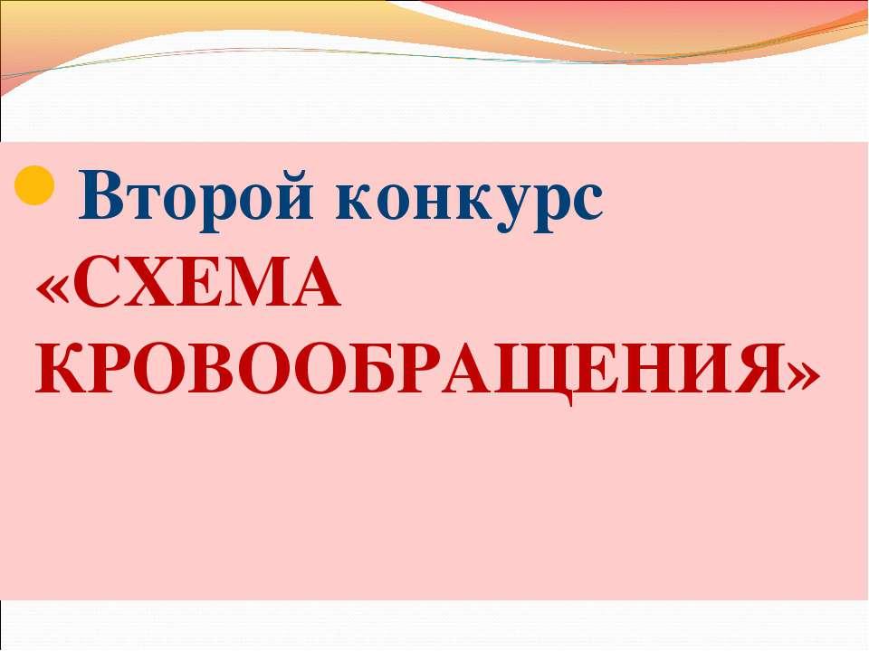 Второй конкурс «СХЕМА КРОВООБРАЩЕНИЯ»