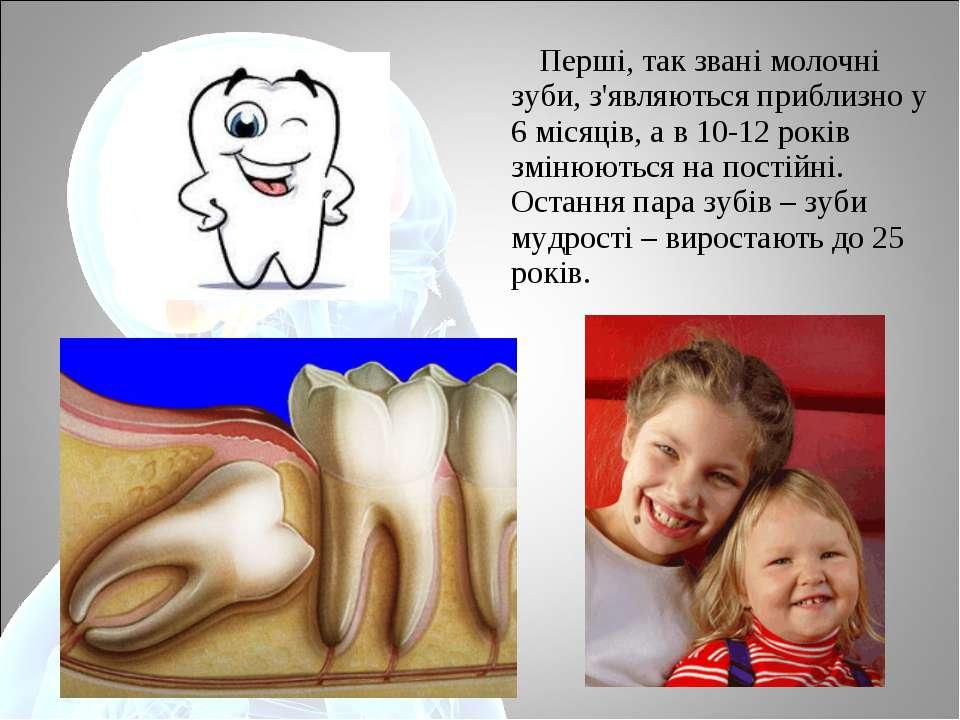 Перші, так звані молочні зуби, з'являються приблизно у 6 місяців, а в 10-12 р...
