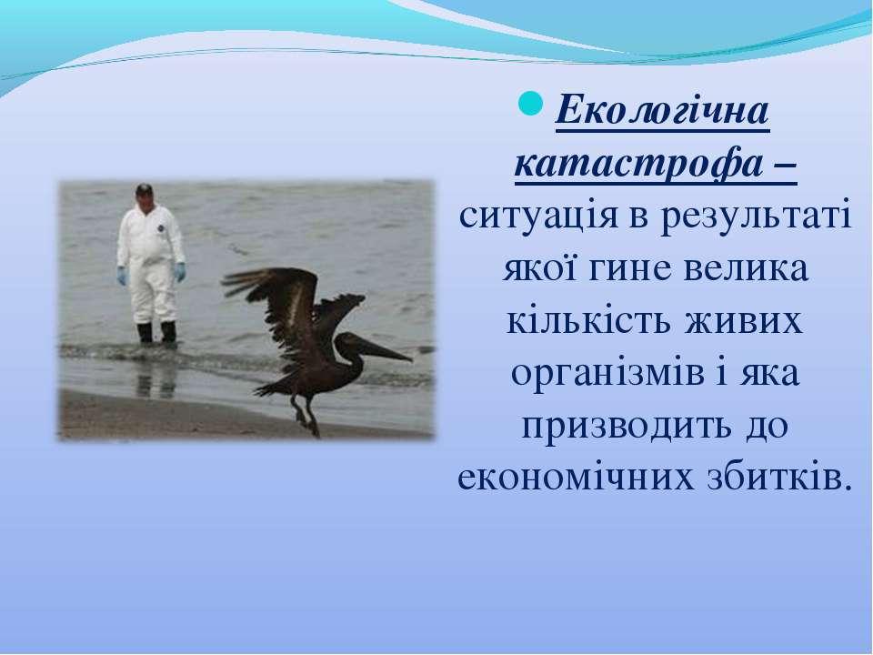 Екологічна катастрофа – ситуація в результаті якої гине велика кількість живи...
