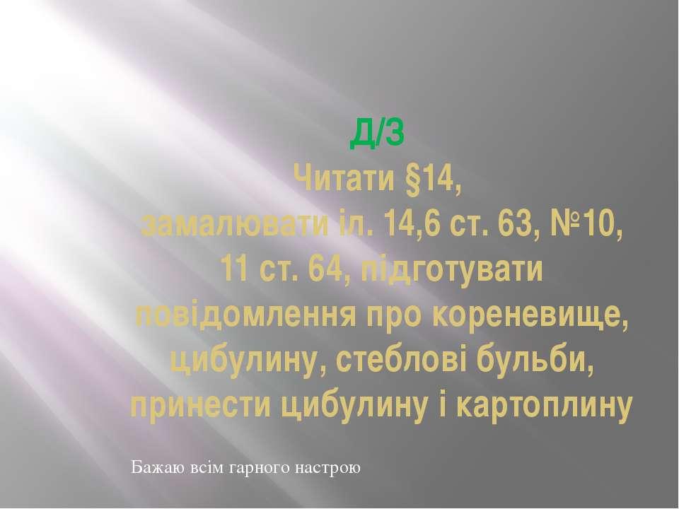 Д/З Читати §14, замалювати іл. 14,6 ст. 63, №10, 11 ст. 64, підготувати повід...
