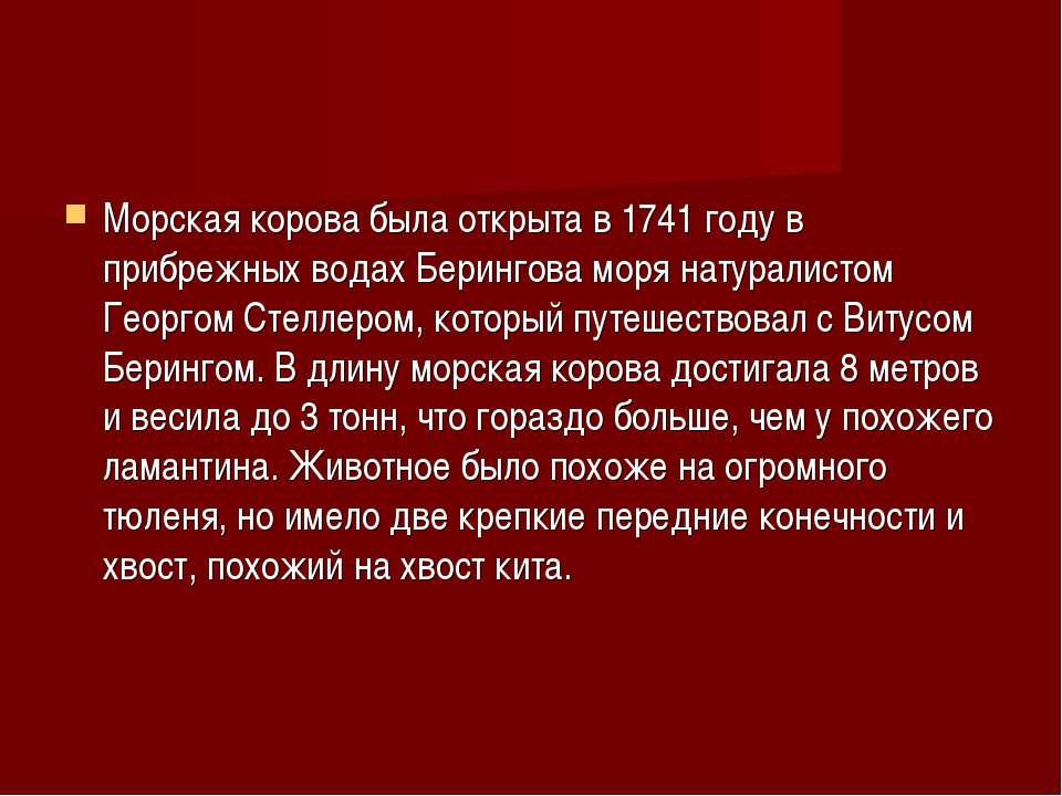 Морская корова была открыта в 1741 году в прибрежных водах Берингова моря нат...