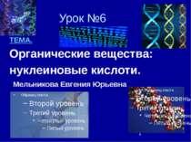 Урок №6 ТЕМА. Органические вещества: нуклеиновые кислоти. Мельникова Евгения ...