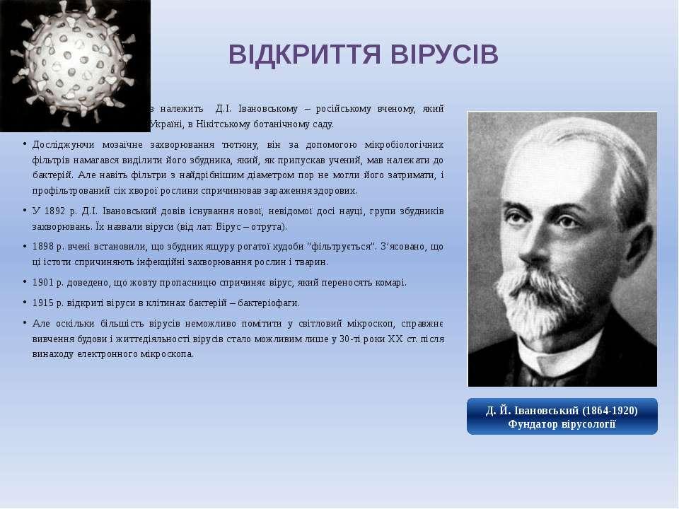 ВІДКРИТТЯ ВІРУСІВ Відкриття цих організмів належить Д.І. Івановському – росій...