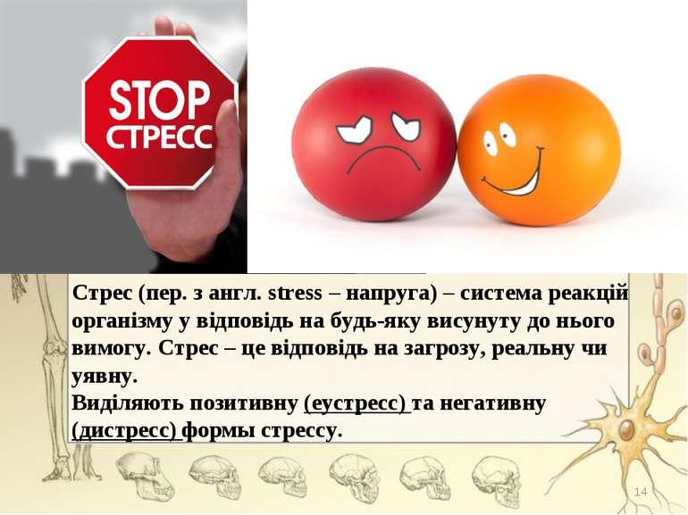 Стрес (пер. з англ. stress – напруга) – система реакцій організму у відповідь...