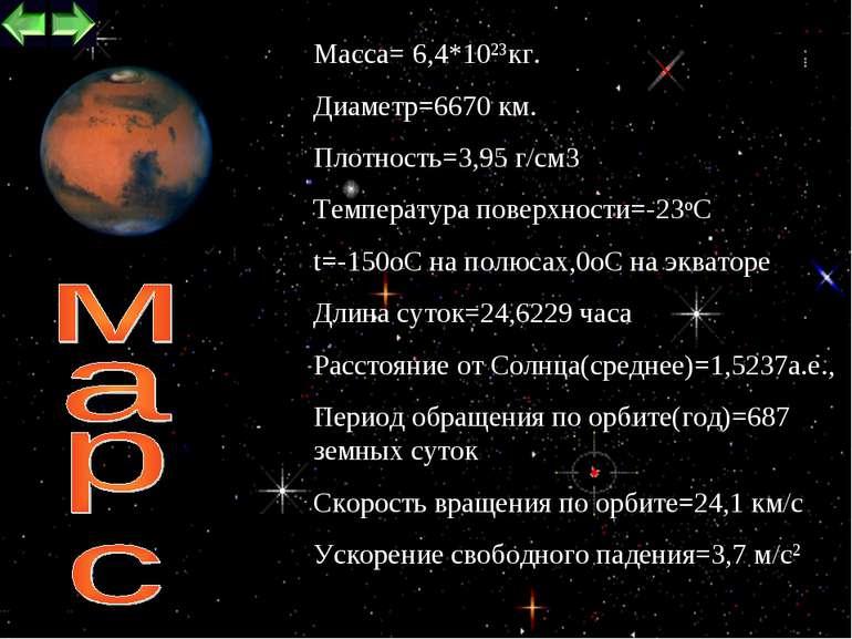 * Maccа= 6,4*1023кг. Диаметр=6670 км. Плотность=3,95 г/см3 Температура поверх...