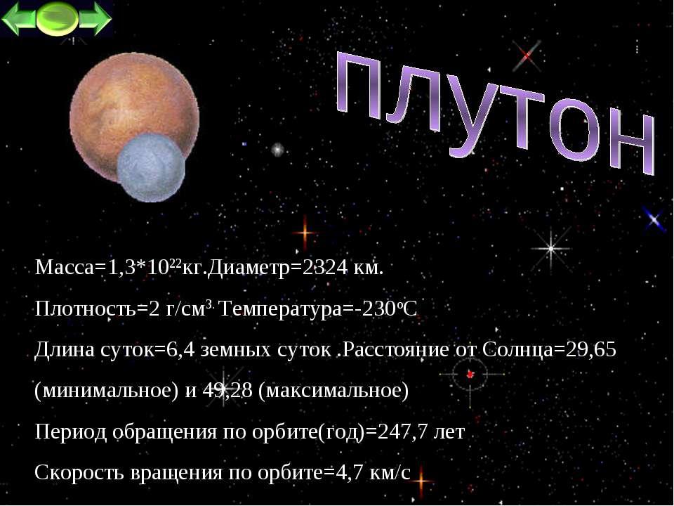 * Macca=1,3*1022кг.Диаметр=2324 км. Плотность=2 г/см3. Температура=-230oC Дли...