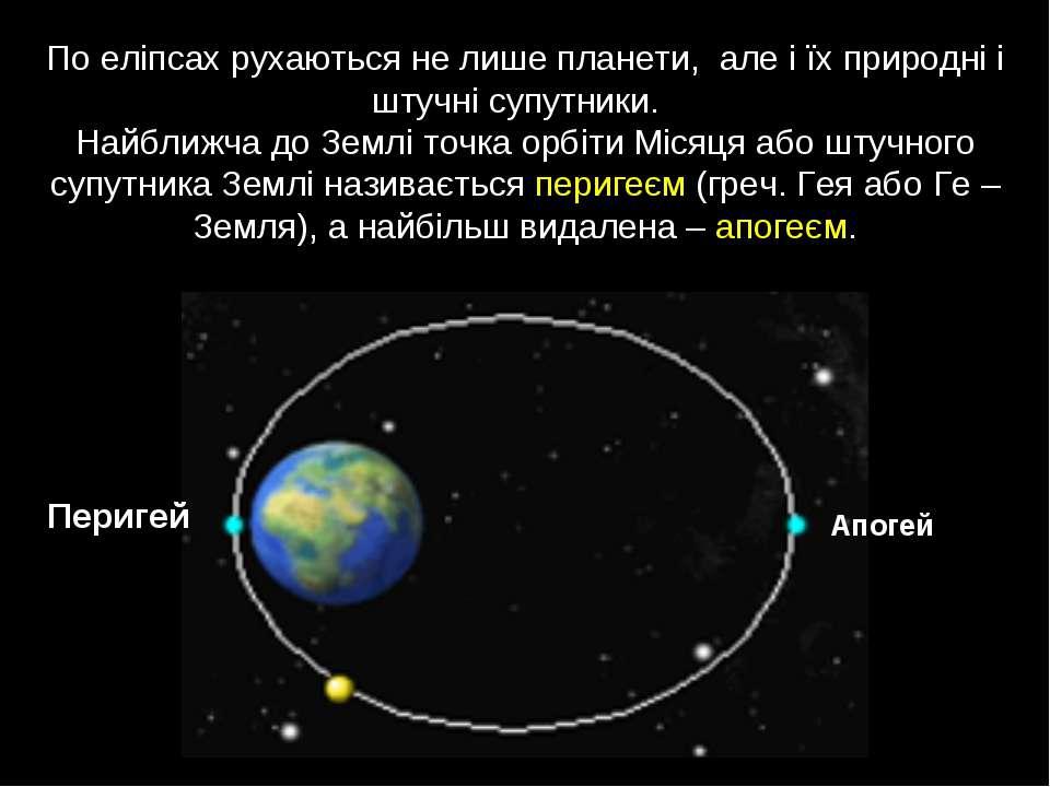 По еліпсах рухаються не лише планети, але і їх природні і штучні супутники. Н...