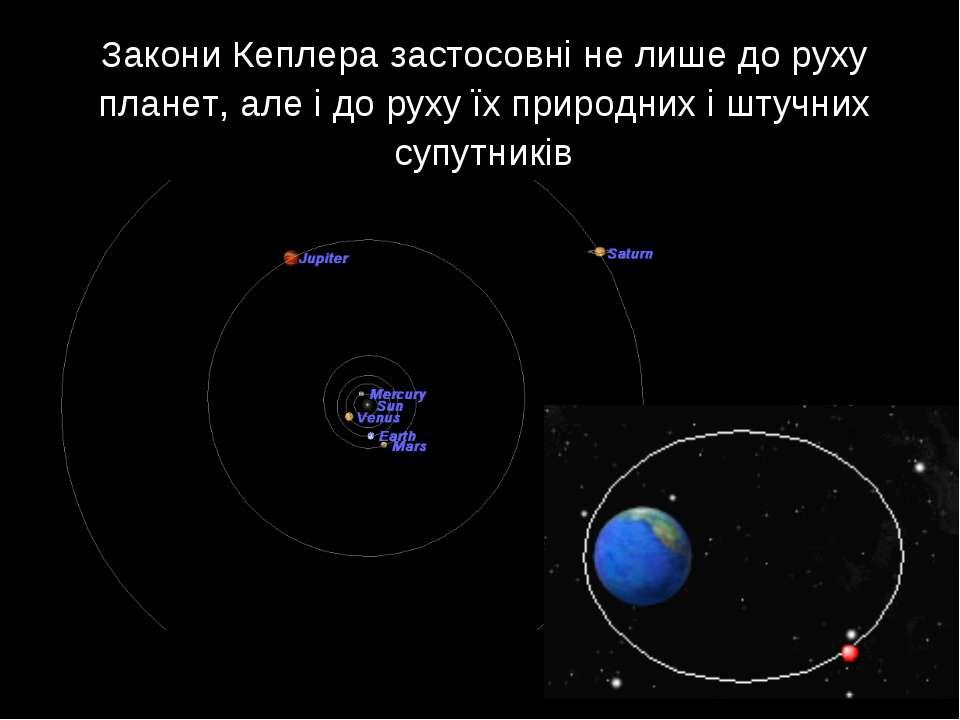 Закони Кеплера застосовні не лише до руху планет, але і до руху їх природних ...