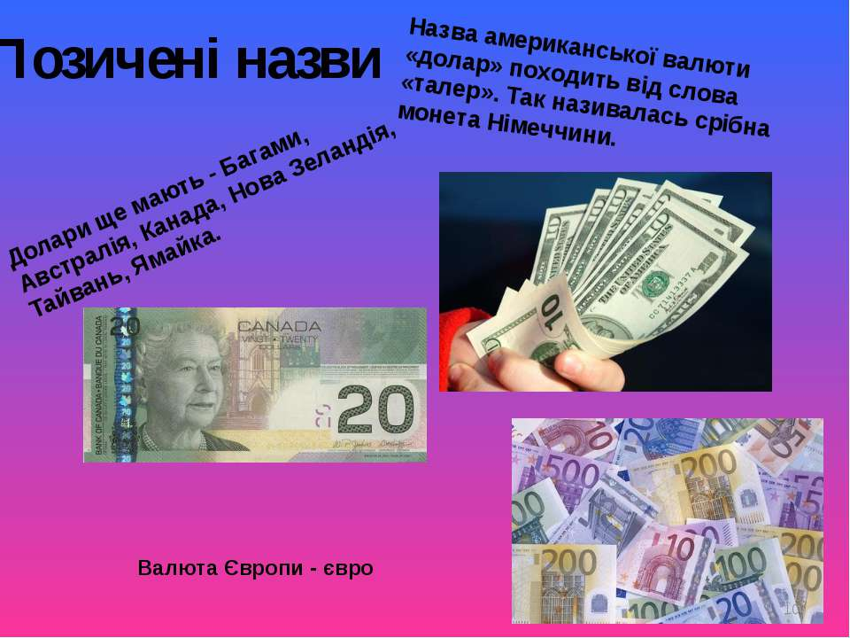 Позичені назви Назва американської валюти «долар» походить від слова «талер»....