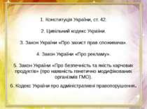 1. Конституція України, ст. 42.  2. Цивільний кодекс України.  3. Закон Укр...