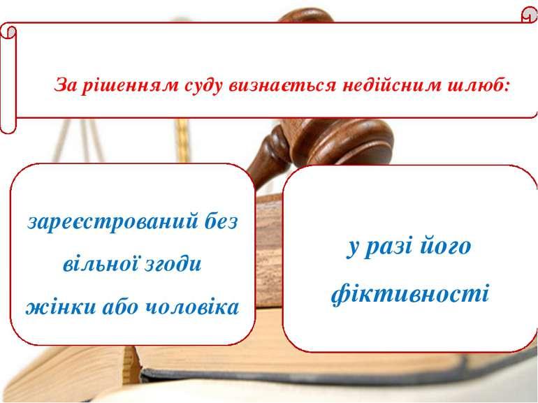 За рішенням суду визнається недійсним шлюб: зареєстрований без вільної згоди ...