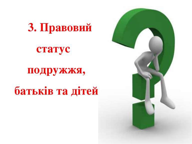 3. Правовий статус подружжя, батьків та дітей