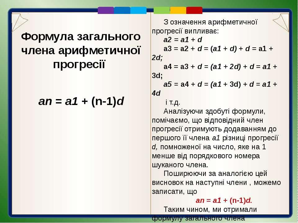 Запитання для самоперевірки Яку числову послідовність називають арифметичною ...