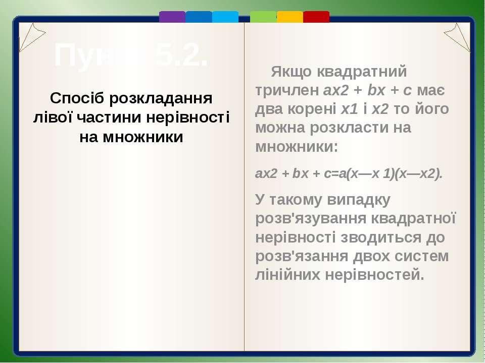 Пункт 5.2. Розв'язання Відповідь. Спосіб розкладання лівої частини нерівності...