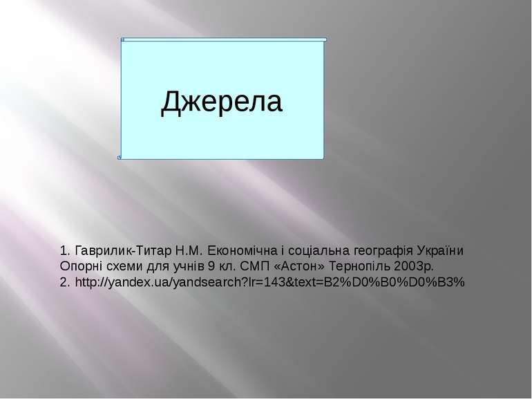 Джерела 1. Гаврилик-Титар Н.М. Економічна і соціальна географія України Опорн...