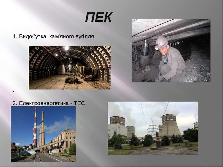 ПЕК 1. Видобутка кам'яного вугілля . 2. Електроенергетика - ТЕС