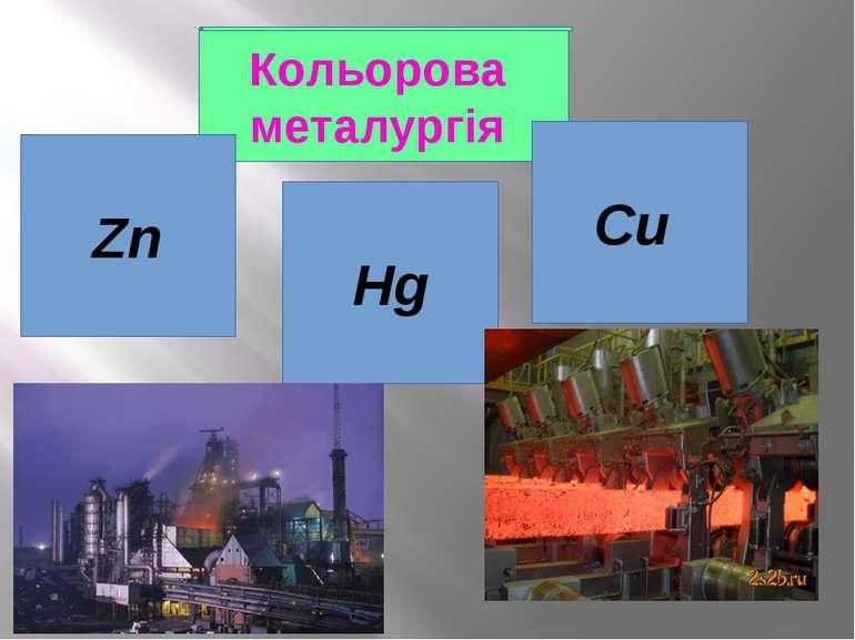 Кольорова металургія Zn Cu Hg