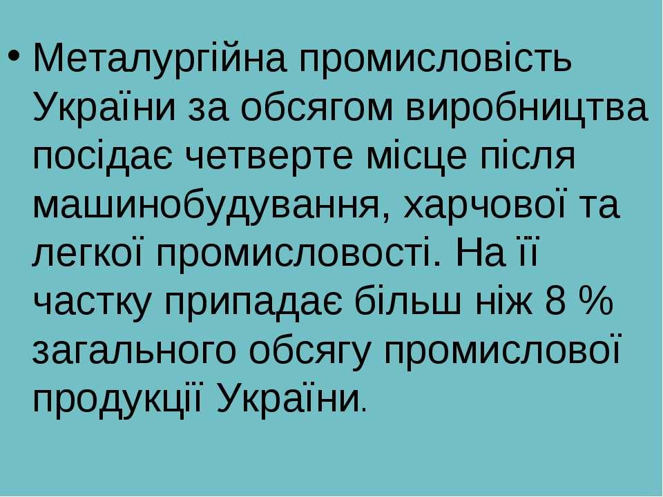 Металургійна промисловість України за обсягом виробництва посідає четверте мі...