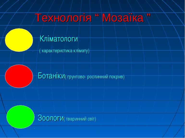 """Технологія """" Мозаїка """" - Кліматологи ( характеристика клімату) - Ботаніки( гр..."""