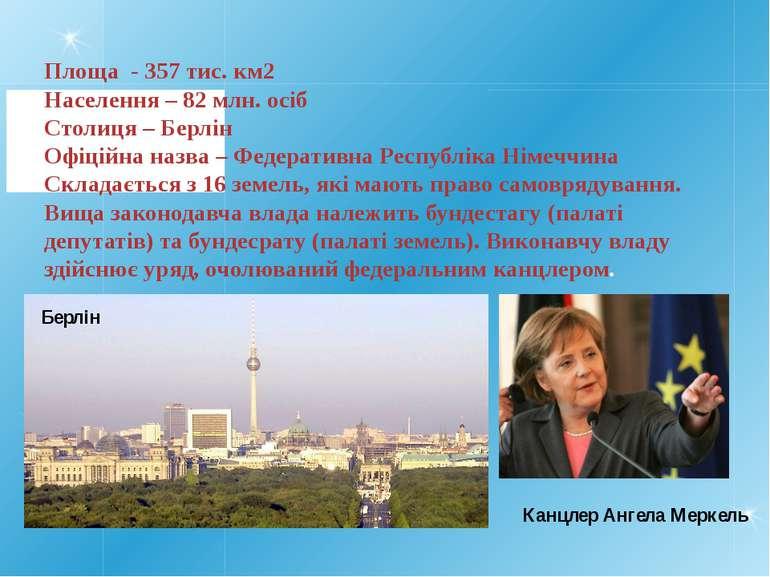 Площа - 357 тис. км2 Населення – 82 млн. осіб Столиця – Берлін Офіційна назва...